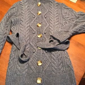 Burberry cable knit gray cardigan super cute